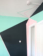 Geometric painted mural Clapham