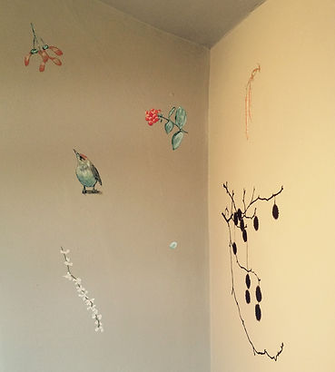 Hand painted woodland mural Clapham