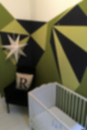 Geometric painted mural Balham