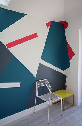 Graphic painted mural East Dulwich