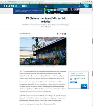 Estúdio de TV Chinesa produzido pela Work Out vira matéria do infoglobo