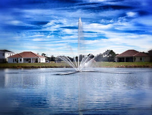 Large floating fountain designed and built by Florida Water Features