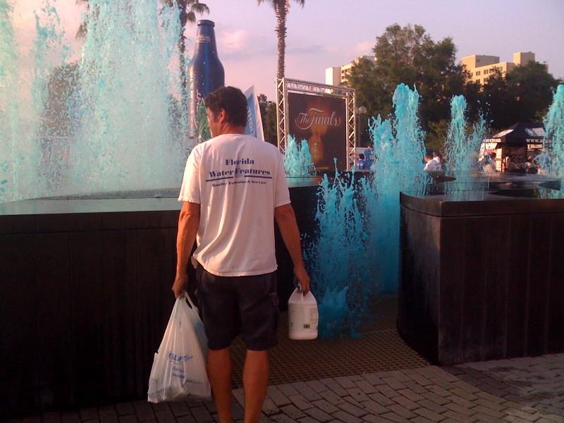 Dying the fountinas blue for NBA Orlando Magic