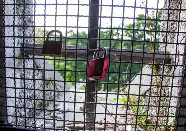 Verschlossene Herzen auf dem Bismarkturm in Steppach