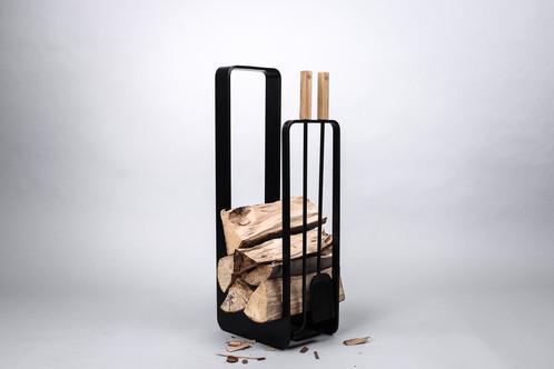 Firewood rack with fireplace tools | Uhrecki - MODERN SMITHS