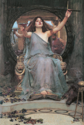 """""""Circe Offering the Cup to Odysseus"""" by John William Waterhouse (1891)"""
