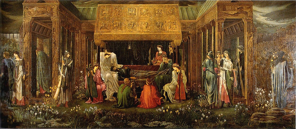 The Last Sleep of Arthur in Avalon, Edmund Burne-Jones (1881-1898). Morgan is the figure in white in whose lap King Arthur's head rests. They are surrounded by her sisters.
