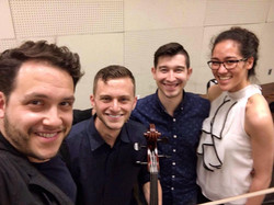 Members of Velox Quartett with coach Giora Schmidt
