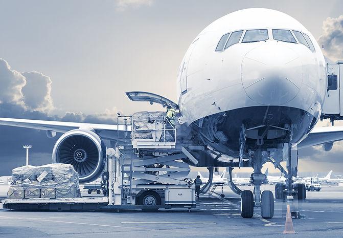 Plane loading cargo