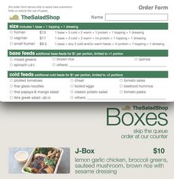 Order Form/Menu - The Salad Shop