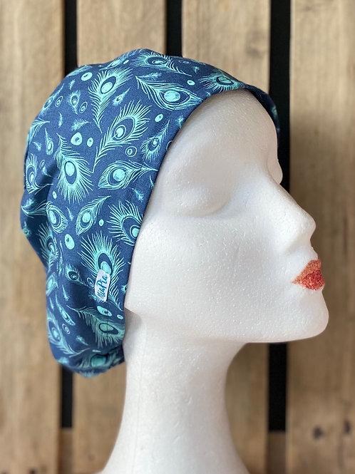 Gorro Mujer Plumas Azul