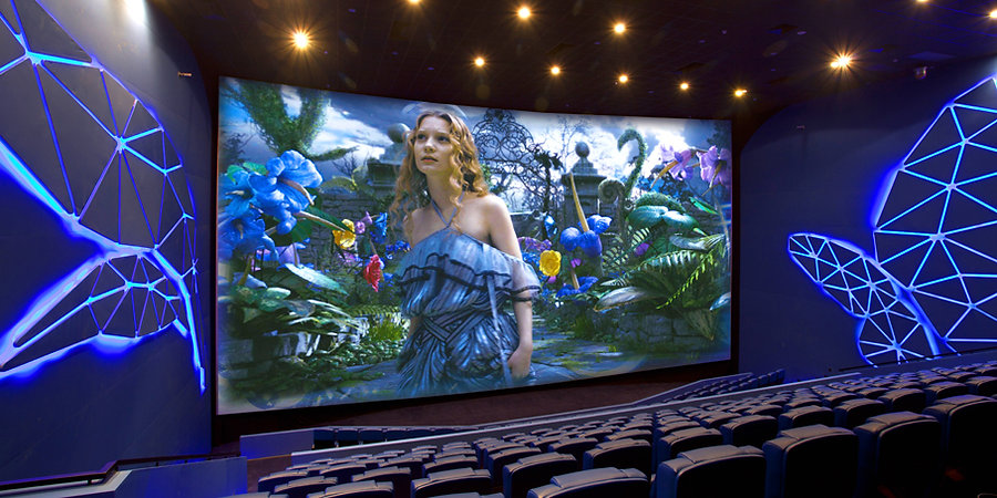 The Butterfly IMAX - in Blue with Giant Butterfly Patterns that truly excites the senses. Cinema Design by Alexander Wong Architects Limited