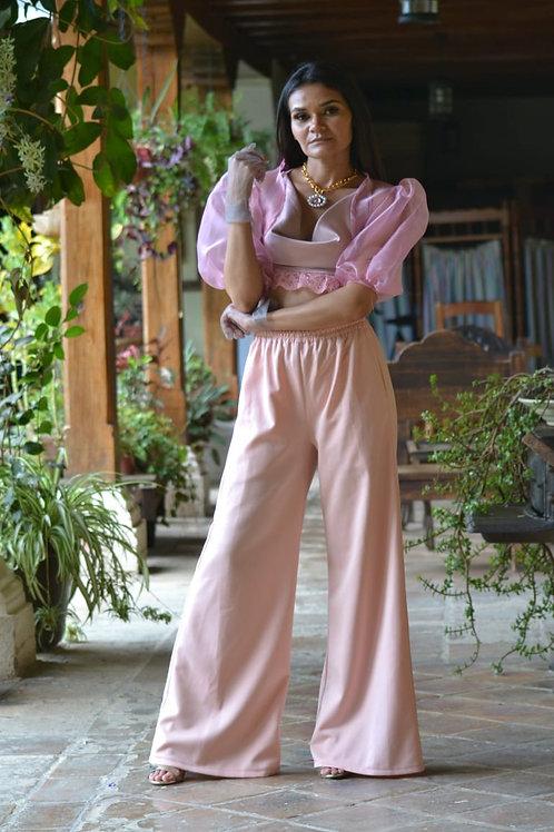 Pantalon holgado rosa