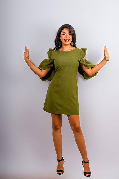 Vestido corto color ver olivo