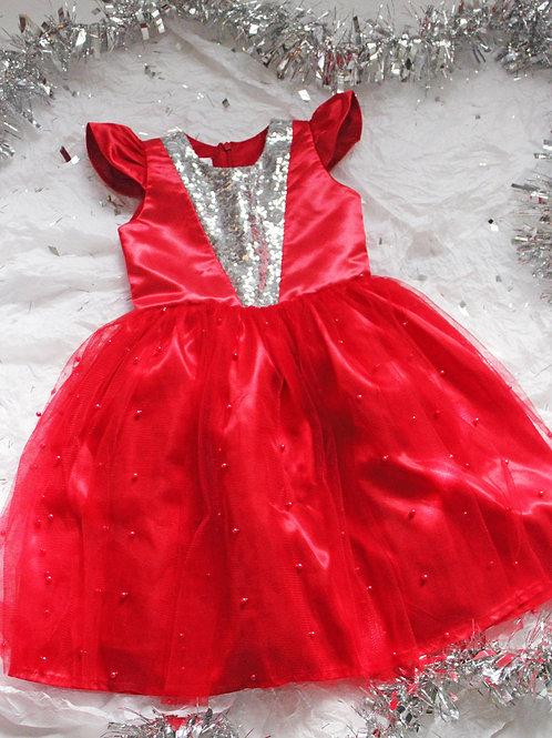 Vestidos rojo pechera en razo y lentejuelas Falda de tull y perlas