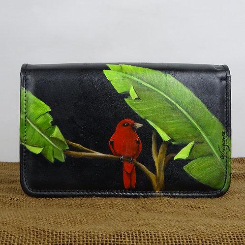 mini cartera convertible, cuero negro, pintada a mano