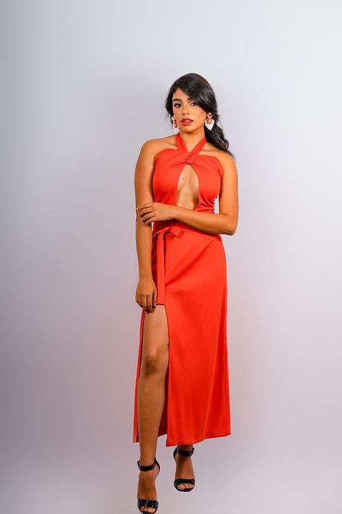 Vestido naranja largo