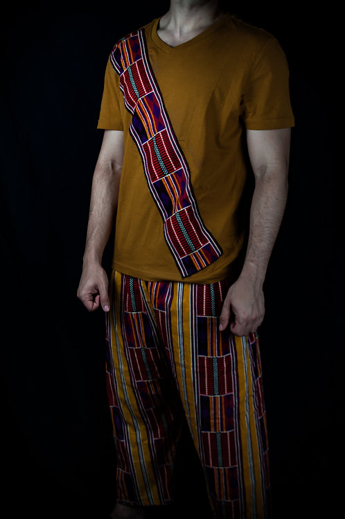 Conjunto camiseta color mostaza y pantaleta de tela africana