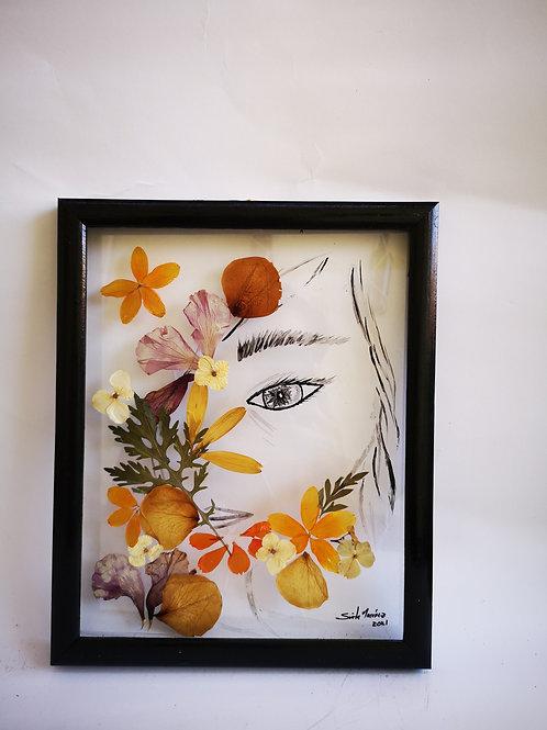 Cuadros florales 9x11 pulg, ojo en acrílico.