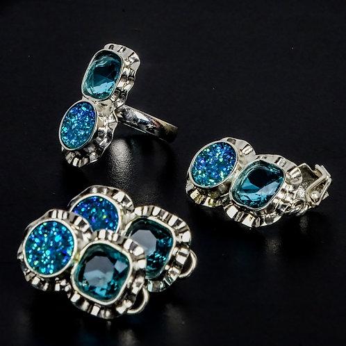 Juego de plata 950, anillo, aretes y dije, con cristal y duzy acrilico