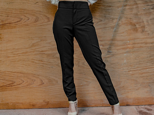 Pantalon Negro formal con zipper en la parte inferior