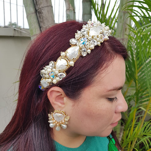 Vincha de perla y cristal Swarovski