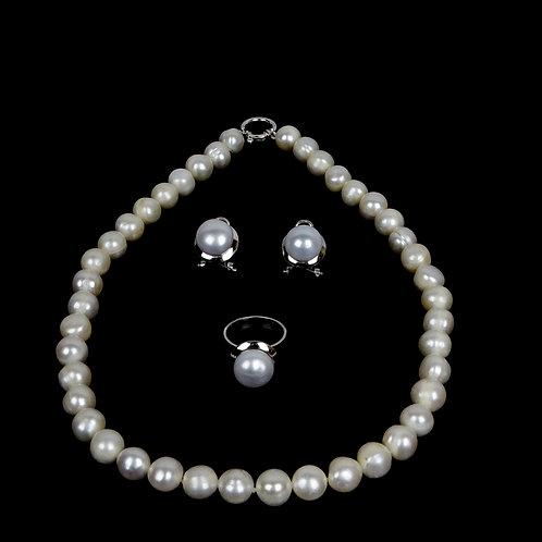 Juego de plata 950, aretes, anillo con perlas y collar de perlas de 10 mm