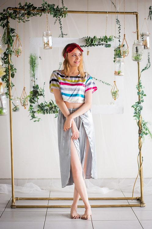 Pijama compuesta de blusa con rayas multicolor