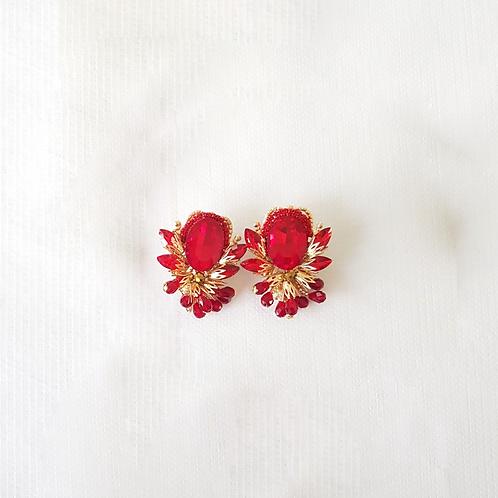 Aretes de cristal Rojos GOLDPLATED