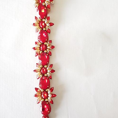 vincha roja de cristal San Valentin