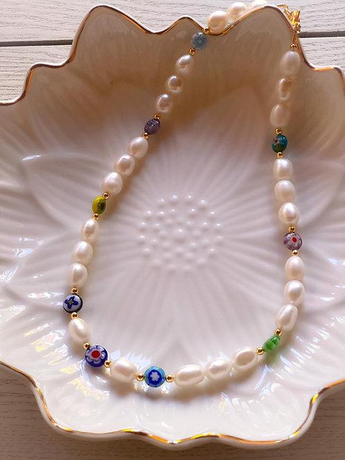 Millefiori con chunky pearls