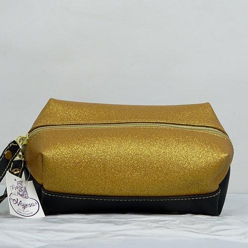 Cosmetiquera de Feux Leather combinada en dos colores, forradapor dentro