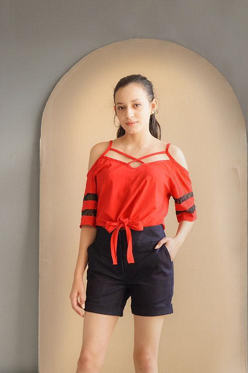 blusa traje rojo