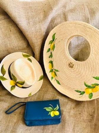 Cartera de palma para playa redonda con limones