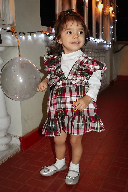 Conjunto Valentina para niña con camisa blanca y un vestido de vuelos