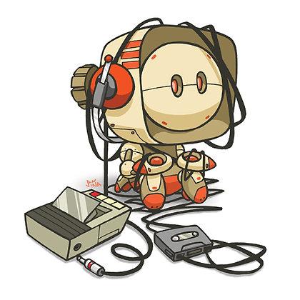 Cassette Tape Robot Print