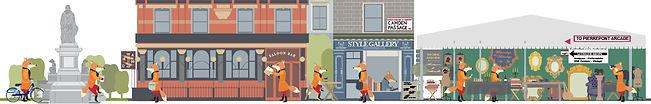 Camden Passage people activities illustration