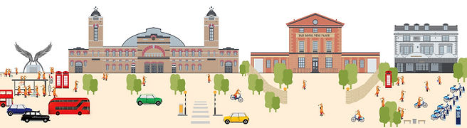 Urban public and private boundary illustration