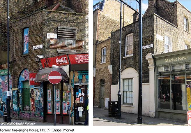 Former fire-engine house, Chapel Market comparison
