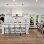 Beautiful panorama of white kitchen and