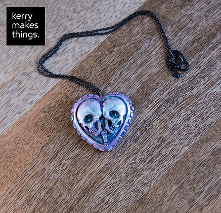 Iridescent Skull Necklace