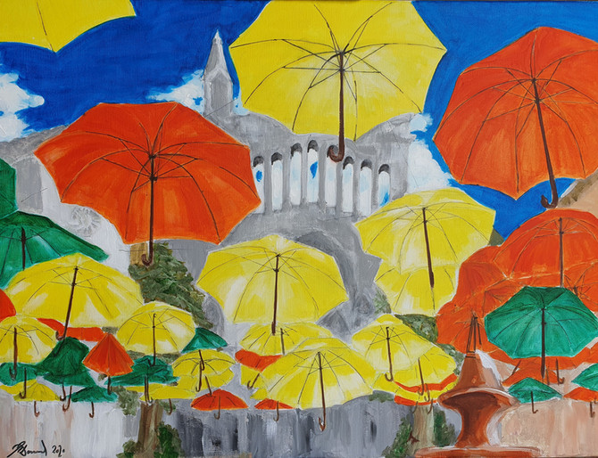 Umbrellas Over the Soller Square