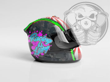digital mock up of custom helmet paint