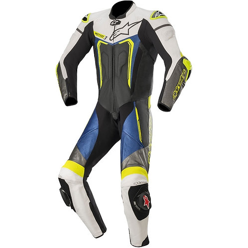 Alpinestars Motegi v3 1 Piece Leather Suit 1 Black White Metallic Grey & Blue