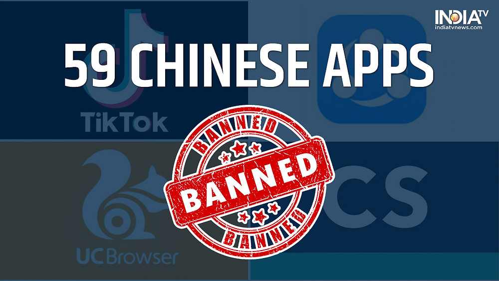 59 Chinese apps banned in India amid tensions between India and China.