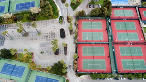 empty parking lots and tennis courts