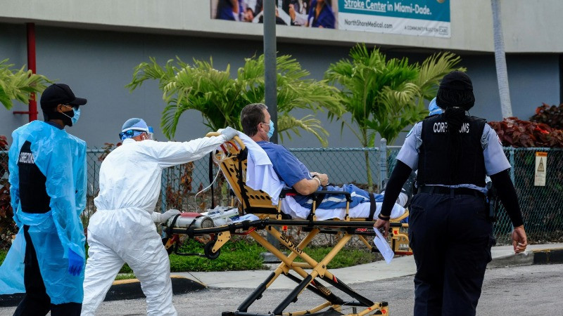 FILE PHOTO: Emergency Medical Technicians (EMT) arrive with a correctional patient at North Shore Medical Center where the coronavirus disease (COVID-19) patients are treated, in Miami, Florida, U.S. July 14, 2020. REUTERS/Maria Alejandra Cardona