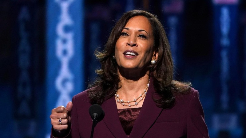U.S. Senator Kamala Harris (D-CA) accepts the Democratic vice presidential nomination during an acceptance speech delivered for the largely virtual 2020 Democratic National Convention from the Chase Center in Wilmington, Delaware, U.S., August 19, 2020. REUTERS/Kevin Lamarque
