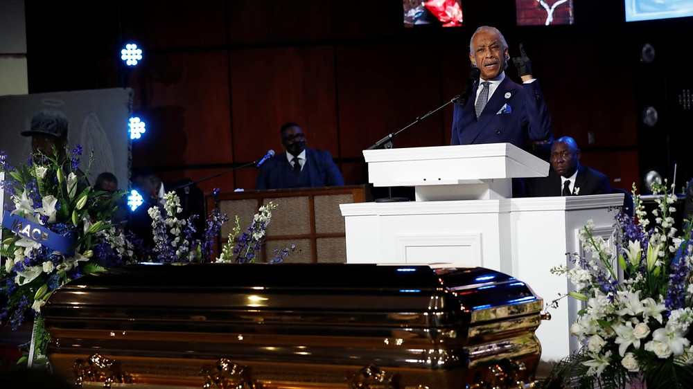 'Get your knee off our necks,' activist Sharpton says at Floyd memorial