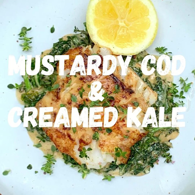 Mustardy Cod with Creamed Kale